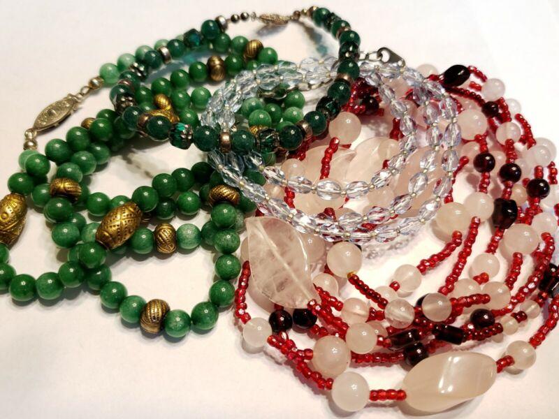 Vtg Lot of Beaded necklaces & sterling bracelet Chinese rose quartz handmade+