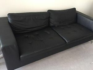 Black leather sofa Alexandria Inner Sydney Preview