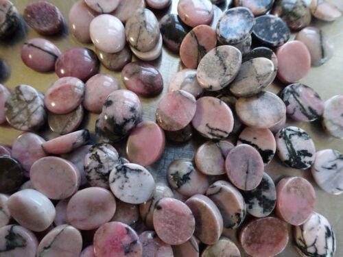 Cabochon Gemstone Natural Rhodonite 8x10mm (Pkg 19) Pink and Black Rock