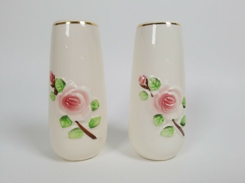 VINTAGE Rose Floral Salt and Pepper Shakers with Christian prayer Made in Japan