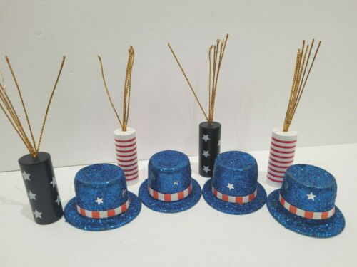 4th of July Patriotic Buffalo Plaid Check Bowl Filler Firecracker Scatter Decor