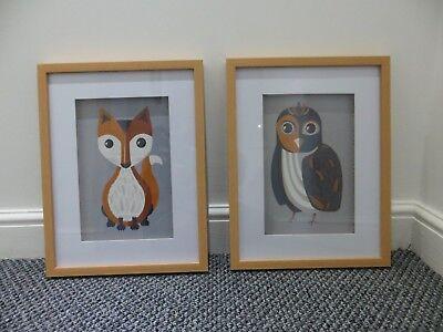 Set of 2 Animal Framed Prints Size W 33 cm x L 3 cm x H 43 cm. for sale  Doncaster