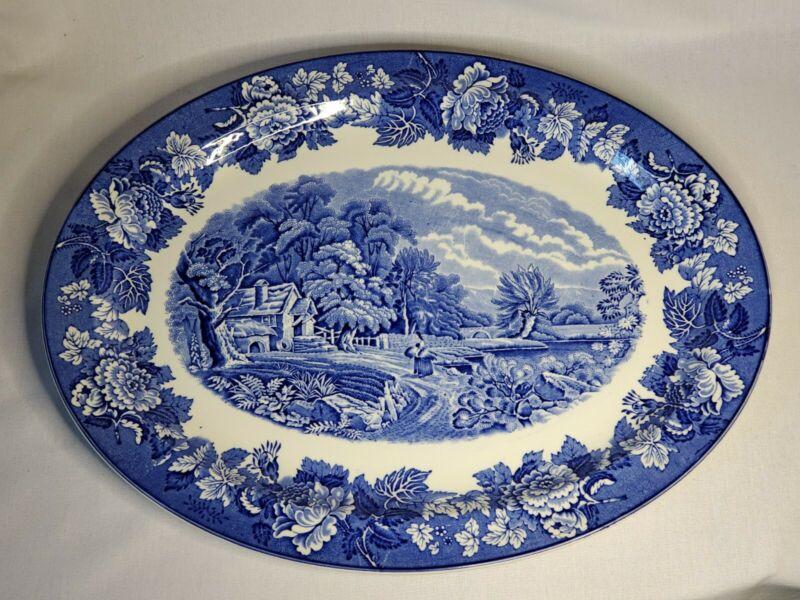 "16"" Large Oval Enoch Woods Blue Transferware English Scenery Serving Platter EUC"