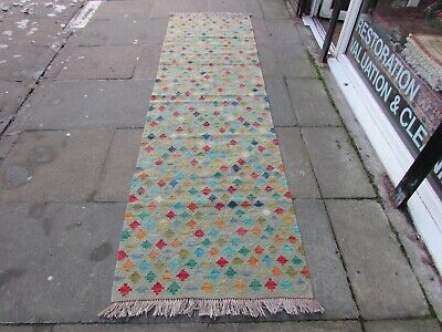 Kilim Vintage Traditional Hand Made Oriental Blue Long Kilim Runner 300x89cm for sale  Shipping to South Africa