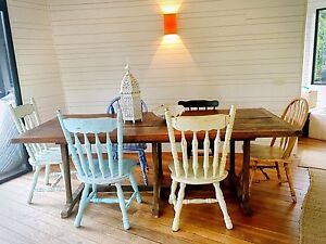 Set Vintage hardwood chairs Broken Head Byron Area Preview