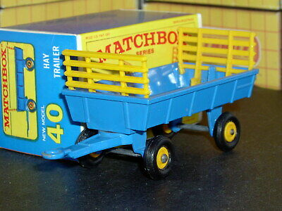 Matchbox Lesney Farm Hay Trailer 40 c1 blue yellow racks SC6 VNM & crafted box