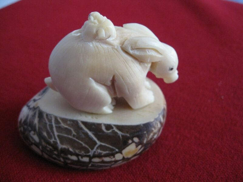 TAGUA NUT Hand Carved Figure  Rabbit with Bunny on Her Back