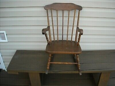 Kids Wood Rocking Chair - Vintage Solid Wood Childs Rocking Chair