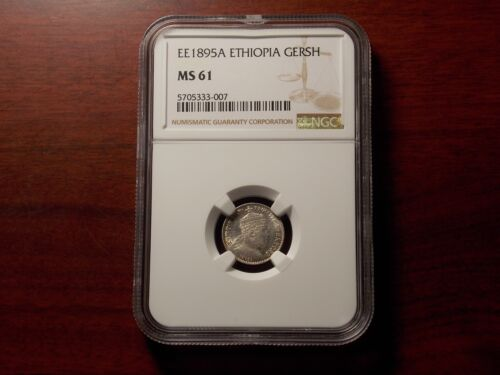 EE1895 A Ethiopia Gersh silver coin NGC MS-61
