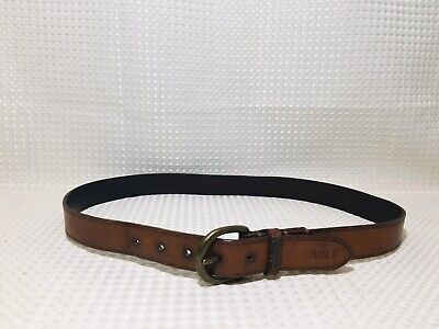 Abercrombie & Fitch Men's Leather Belt British Tan Brass Buckle Logo Sz M/L