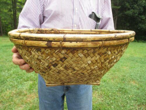 ANTIQUE HUGE Rattan Basket, Hand Made SUPERB CRAFTSMANSHIP Bamboo & Reeds STRONG