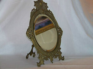 Bradley-Hubbard-Antique-c19th-C-Easel-Wall-Hang-Beveled-Glass-Ornate-Mirror