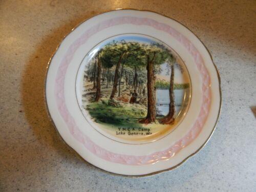 Y. M. C. A. Camp Lake Geneva, Wis. WI Historical Souvenir China Plate Circa 1915