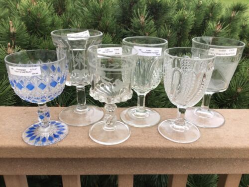 COLLECTION OF EAPG GOBLETS GROUP OF (6) DIFFERENT FROM LARGE ESTATE COLLECTION