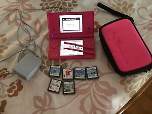 Nintendo DS with 6 games- case-2 pens and charger