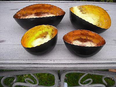 4 Metall-Teelicht-Schalen, oval, gold und kupferfarbig. Neu & OVP. Tischdeko.
