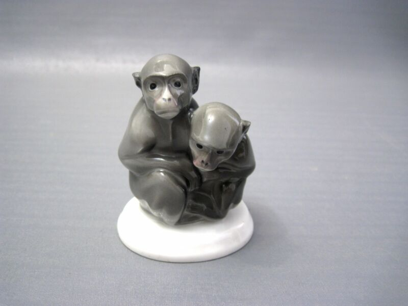 Hutschenreuther Figure Group As Two Monkeys