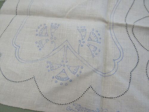 Vtg 1930s Art Deco Stamped Linen BUFFET SET of 3 Doilies To Embroider