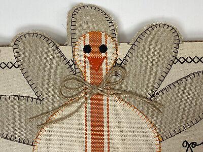 ☆Mud Pie Thanksgiving Fall Turkey Dangle Leg Gobble Canvas Pillow Wrap ☆NWT NEW☆