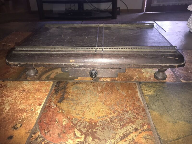 Antique 1800s METAL & WOOD PLEATING Table W/ METAL PLEATERS 16 1/2""