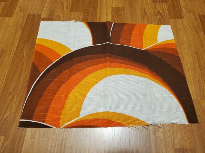 Awesome RARE Vintage Mid Century retro 70s orange brown rainbow fabric! LOOK