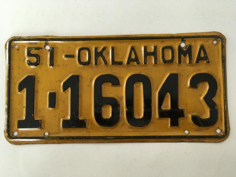 1951 Oklahoma License Plate (Single Plate Year - no pairs (Read description)