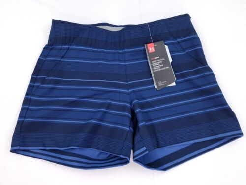 NWT Under Armour Womens Fitted Links Printed Golf Shorts Size 0 2 Blue 1300600