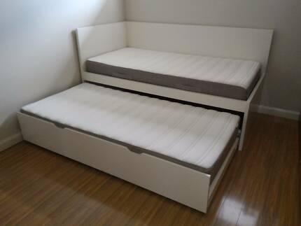Ikea Odda Single Bed With Trundle And 2 Mattresses
