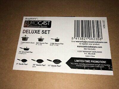 Eurocast Berghoff Deluxe Cookware Set NEW