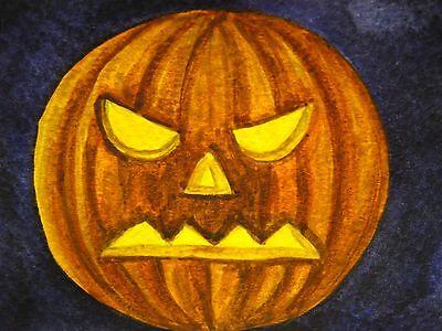 Watercolor Painting Halloween Pumpkin Jack O Lantern Face Fall ACEO Art