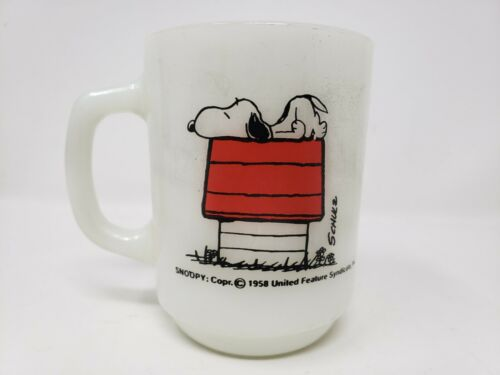 """Vintage Snoopy 1958 """"I think Im Allergic To Morning!"""" Coffee Mug Cup Fire King"""