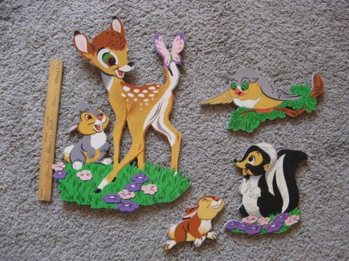 4 pcs. Vintage Bambi Thumper Skunk Owl Wall Art Thick Board Nursery Decor Disney