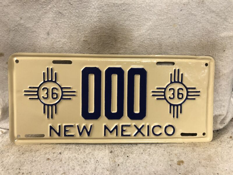 Vintage 1936 New Mexico Sample License Plate REPAINTED