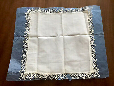Antique Unused TATTING Lace EDGED Lawn Ladies Handkerchief On Original Paper
