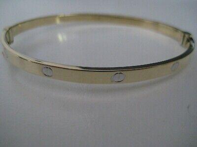 Gold screw bangle 9 carat yellow gold 4mm