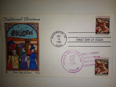 VAN NATTA 1989 CHRISTMAS MARY & CHRIST CHILD HAND PAINTED HP FIRST DAY COVER FDC ()
