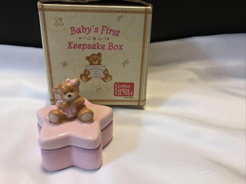 Gund Baby's First Keepsake Box - Teddy Bear - Star - Pink - Girl- NIB