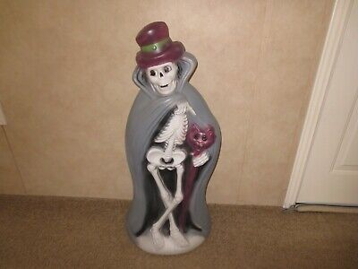 """Vintage 34"""" General Foam Halloween Lighted Blow Mold Skeleton With Cat Cane"""