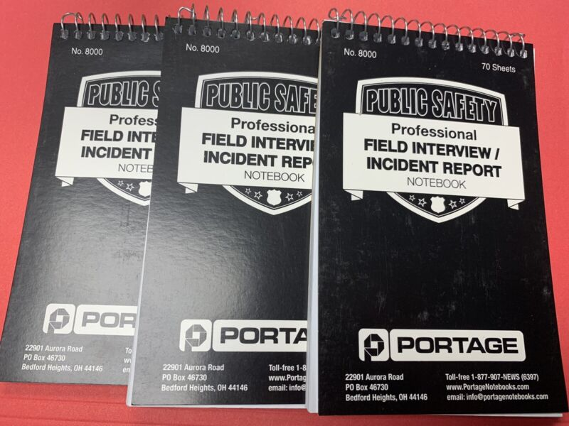 Portage Public Safety Police Field Interview/incident Report Notebook - 3 Pack