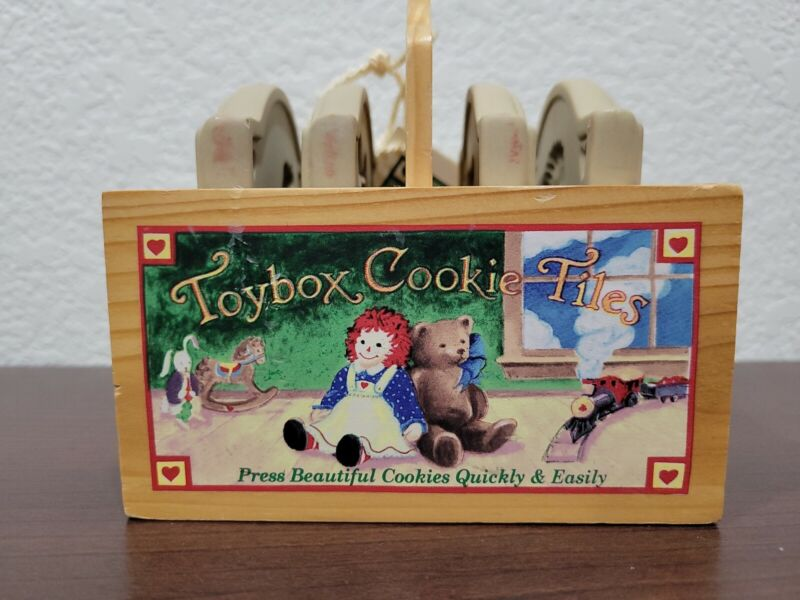 SET OF 4 BROWN BAG COOKIE ART TOYBOX COOKIE TILES IN A CUTE LITTLE WOODEN CRATE