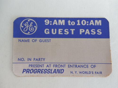 Rare 1964 - 1965 New York Worlds Fair GE Progressland Guest Pass Ticket Disney