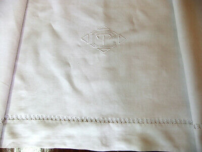 Sheet cotton-linen 2m30 x 3m10 middle 20th monogram