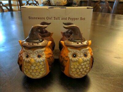Cracker Barrel Owl Stoneware Fall/Pumpkin Salt & Pepper Shakers in Box