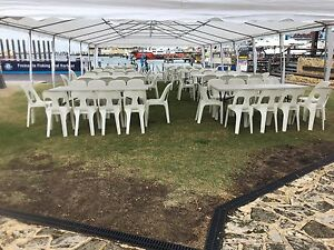 Plastic Pipee chairs and trestle table hire - CAN DELIVER LOCALLY Parmelia Kwinana Area Preview