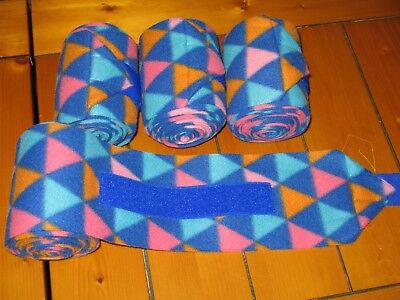 NEW set of 4 blue/pink/orange triangles horse polo wraps (horse/pony leg wraps)