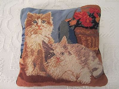 """NEEDLEPOINT KITTY CATS AND FLOWERS PILLOW 13"""" ZIPPERED CASE"""