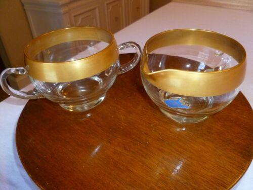 West Virginia Glass Hand Made Cream & Sugar Wide Gold Rim Weston, WV Has Seal