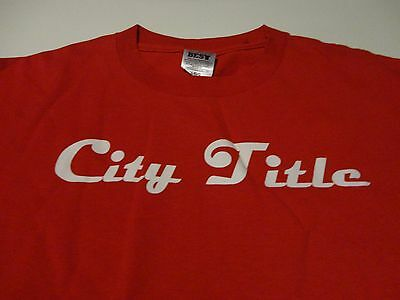 Company SOFTBALL TEAM League CITY TITLE Jersey Red Fast FREE Shipping size Large - Party City Shipping