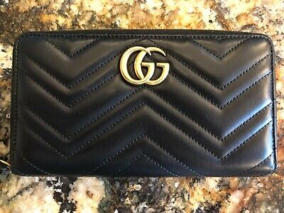 AUTHENTIC Gucci GG Marmont Black Leather Zip Around Wallet