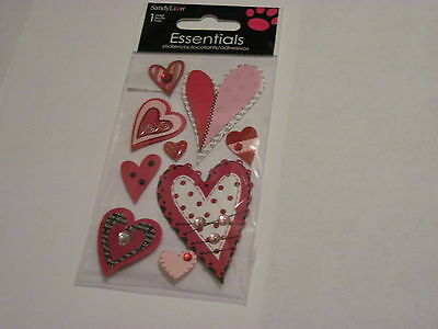 Scrapbooking Crafts Stickers Sandylion Red Black Hearts Bling Stitched Polka - Black Dot Stickers
